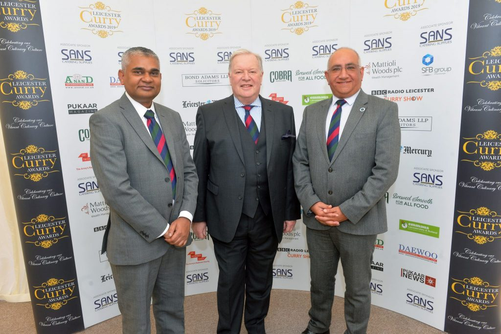 Left to Right: Romail Gulzar, Founder of the Leicester Curry Awards, Lieutenant Colonel David Young, ABF The Soldiers' Charity Chairman and The Lord-Lieutenant of Leicestershire, Mr Mike Kapur OBE. Image Credit: Pukaar News